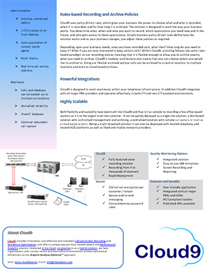 Cloud9 Premise Solution infosheet